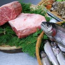 上州牛、ギンヒカリ(群馬ブランドのニジマス)、岩魚、舞茸など当館で使用している食材たち