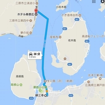 googlemapより 未来神の丘へは当館目の前の須波港からが便利