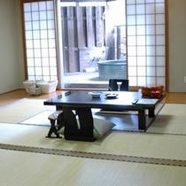 部屋:露天風呂付き客室【桔梗】20.5畳の広々した和室