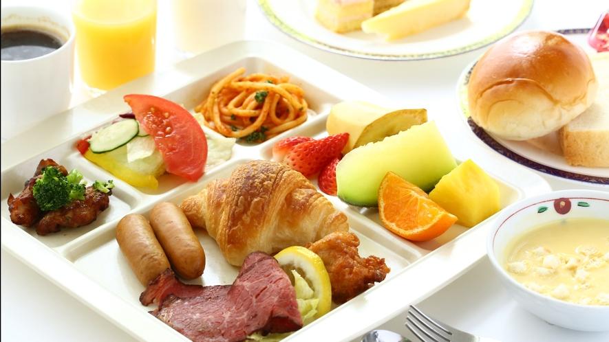 【朝食バイキング】洋食イメージ。新型コロナ対策中は【個別定食お膳】でご提供。