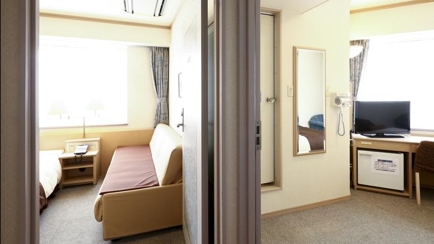 【禁煙◇コネクティング】ダブルルームとソファ付シングルルームをご利用いただけます