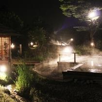 田んぼの湯の夜 湯けむり