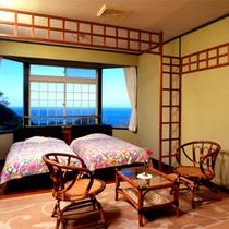 *本館和洋室一例/窓の外には青い海を一望!8畳+洋室の広々としたお部屋です。