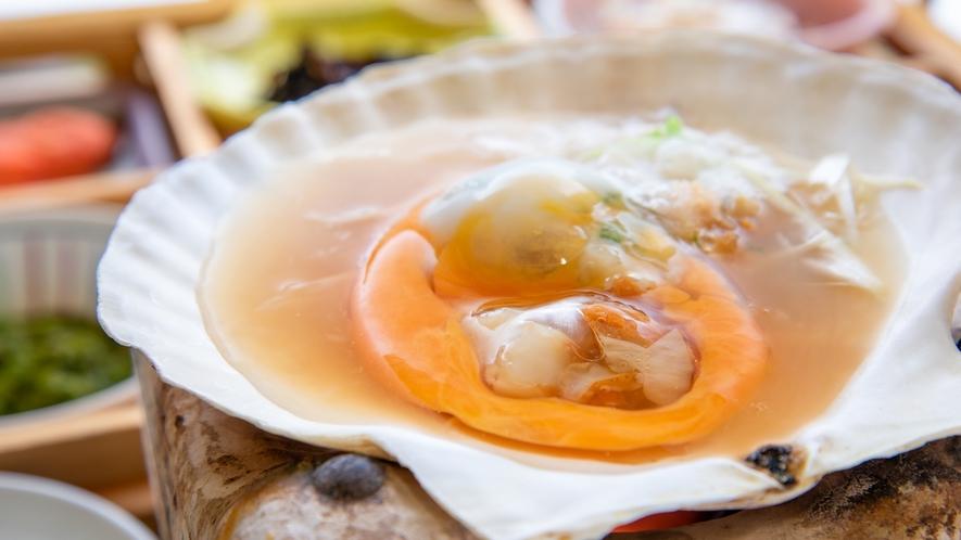 *【朝食一例】青森の郷土料理「味噌貝焼き」は卵でとじる優しい味です