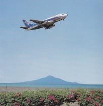 稚内空港から離陸の飛行機