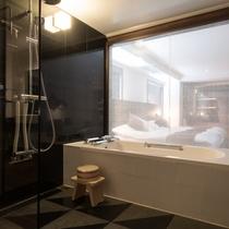 <彩>お風呂からお部屋を。客室のお風呂はもちろん乃木温泉自慢の源泉!
