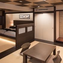 <茶臼> 落ち着くデザインの8畳床の間とベッドルーム 広さはなんと74m²