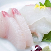 *お夕食一例(お造り)/近海で水揚げされた新鮮な海の幸を盛り付けました。