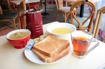 モーニング(ご朝食)「350円にてコーヒー、紅茶、トースト、スープが飲食し放題」
