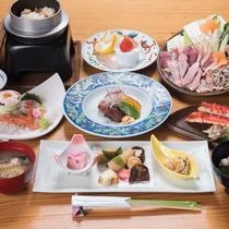 *【夕食(一例イメージ)】メインの「キジ鍋」の定番のスタンダードコース。