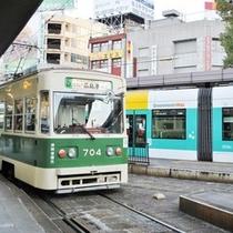 ★広島駅前の路面電車停留所
