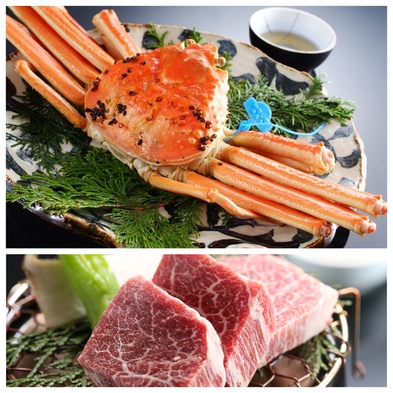 【活蟹】「蟹と牛をブランド食材で!」津居山蟹おひとり1.5杯+但馬牛ヒレ100g炭火石焼