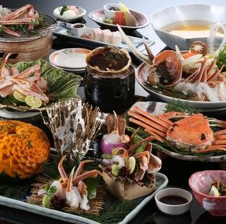 【昼食】【タグ付き活蟹フルコース】日本海の港で水揚げされた新鮮活蟹(タグ付お約束)
