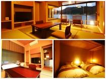 2階和洋室◆ツイン+6畳+広縁4畳◆眺望良好【川側】