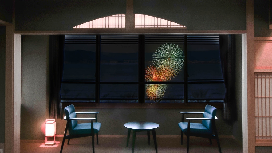 諏訪湖側のお部屋から眺める花火は格別です(写真はイメージ)