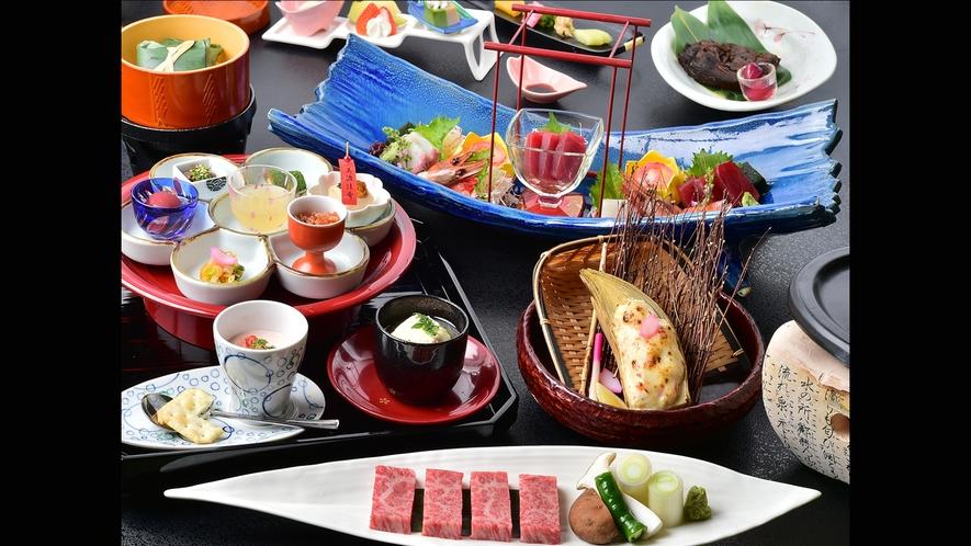 最上級の美食会席「珍味佳肴」(写真は春のお料理)