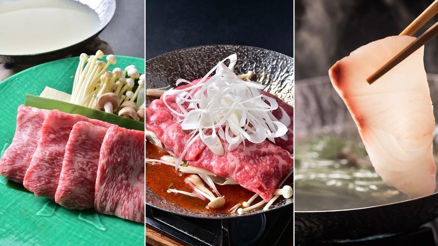 3種から選べる布半の名物鍋(夏の味覚祭のメイン料理)