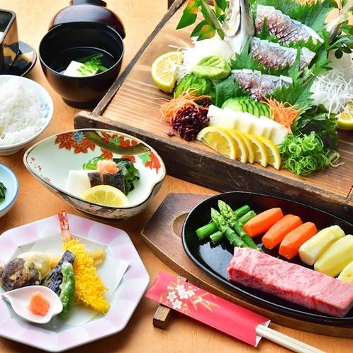 【夕食一例/豊後牛会席+関アジ】当館料理長こん身の豪華会席