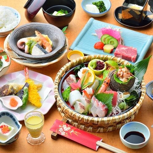 【夕食一例/お刺身グレードアップ】お魚好き必見!大分の新鮮な魚を取り揃えています♪