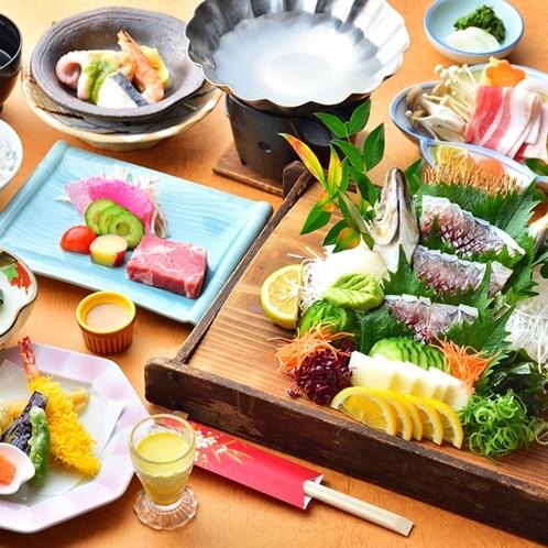【夕食一例/関アジ会席】脂の乗った繊細な味わいの関アジをお楽しみください♪ ※料理一例