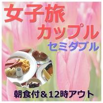 カップルセミダブル(朝食付12時アウト)