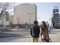 JR帯広駅を降りればホテルは目の前。