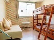 【ツインルーム】・2段ベッド ・無線、有線LAN接続可 ・バストイレ共用続