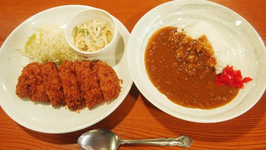 夕食(とんかつ、キーマカレー)