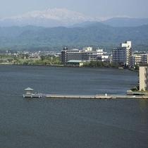 柴山潟を一望、パノラマビュー