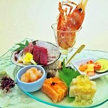 〈和食〉牡丹海老と特選和食前菜盛り合わせ
