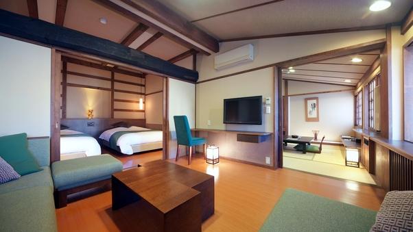 【泉游亭・こまくさ】リビング+和室+洋ベッドルーム<禁煙>