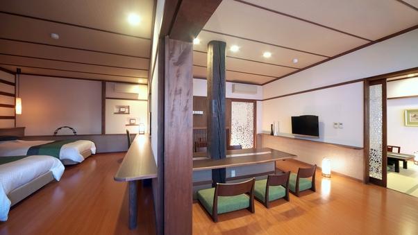 【泉游亭・しゃくなげ】リビング+和室+洋ベッドルーム<禁煙>