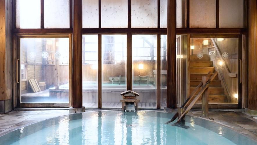 【御汲み上の湯】 奈良屋自慢の温泉。夜中に男女入れ替えもあり趣の違う温泉を楽しめます