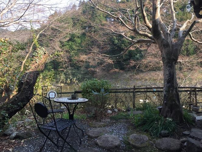 庭とテーブル