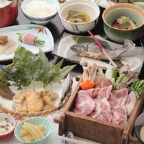 つみくさ料理グレードUP(榛名豚の蒸し焼きコース)