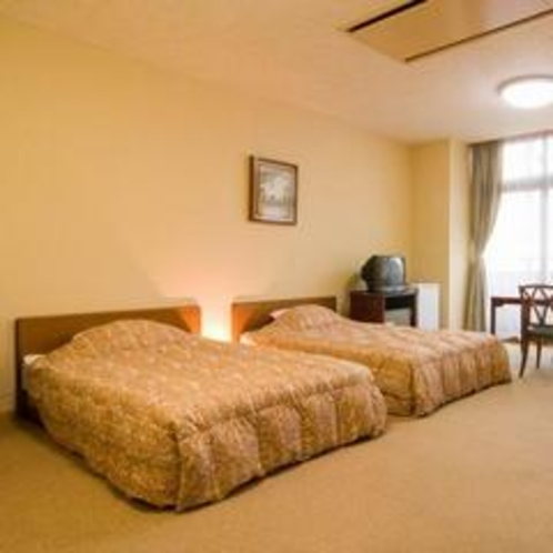 洋室(バリアフリー対応のお部屋)ツイン◆お風呂は源泉の温泉です
