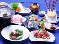 春の夕食一例:見た目も華やかなお食事