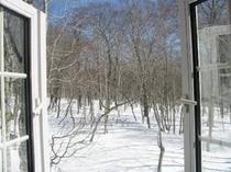 ツインルーム窓からの雪景色