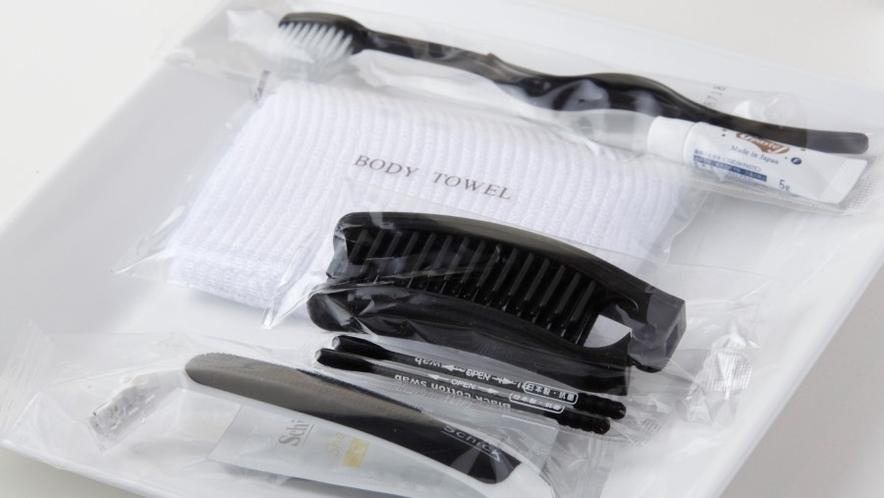 バスアメニティーは、歯ブラシ・ボディータオル・ヘアブラシ・剃刀・綿棒をご用意しております