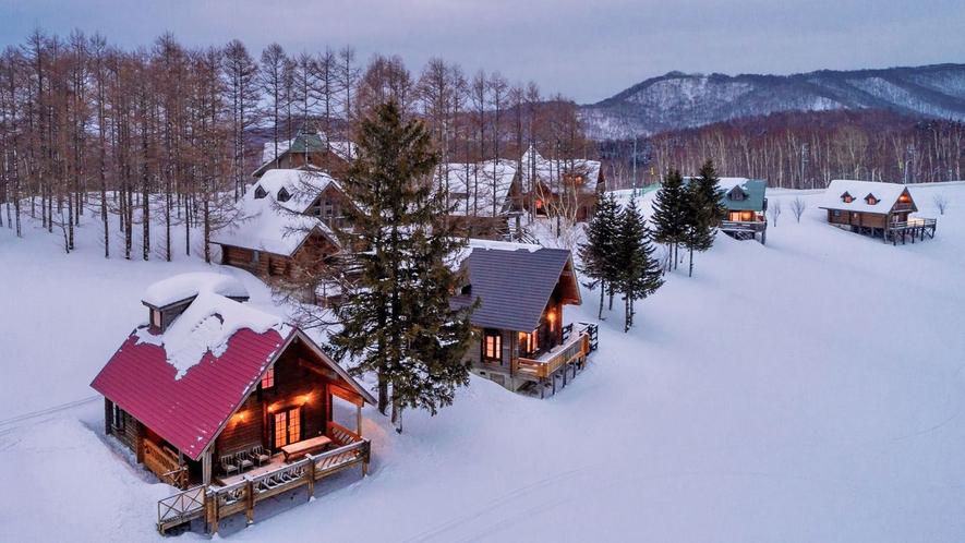 【ログハウス】冬の外観イメージ