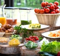 安曇野の野菜美味しい朝のバイキング