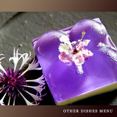 【お食事一例】食べられるお花 ヴァイオレットフィズのゼリー