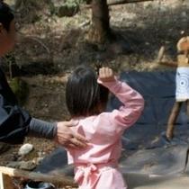 忍者の森での修行のひとつ。手裏剣打ちの術。