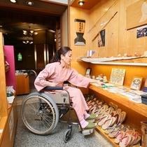 ◆お土産処ゆめや。お土産のお買い物も車椅子の移動でお楽しみいただけます。