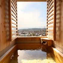 ◇【眺望室】半露天風呂。松本平を一望できます。2016年リニューアル