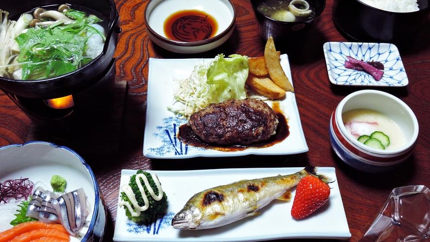 夕食一例】魚料理や肉料理など6品程度