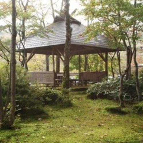 ホテル正面にある庭