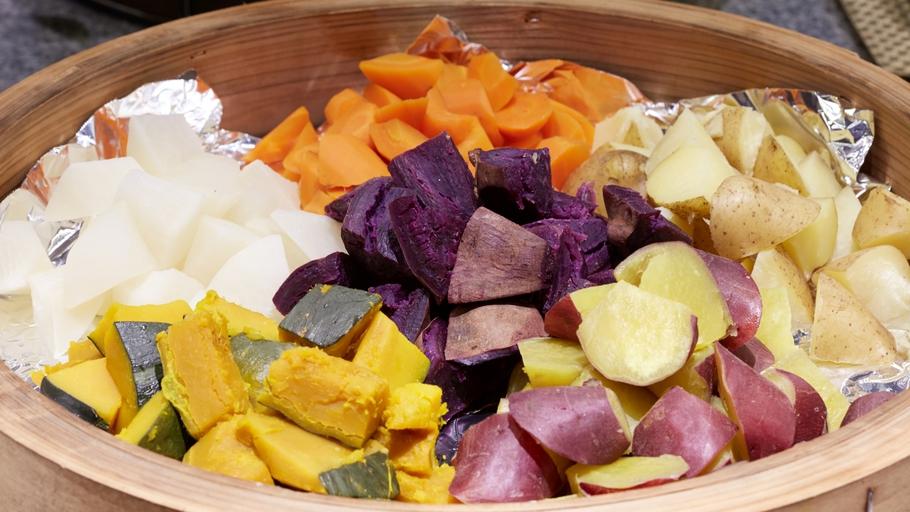 朝食バイキングの『蒸し野菜』