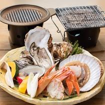 *【夕食:三陸海の幸 海鮮三昧コース】エビ、ホタテなどの三陸の海の幸を陶板で焼いて味わってください