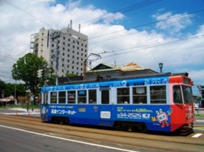 市電とホテル